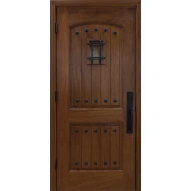 IMPACT 36X80X1-3/4 MAHOGANY WOOD DOOR W/ 2-PANEL PLANK & SPEAKEASY