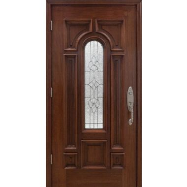 IMPACT 36X80X1-3/4 MAHOGANY WOOD DOOR W/ PARLIAMENT GLASS