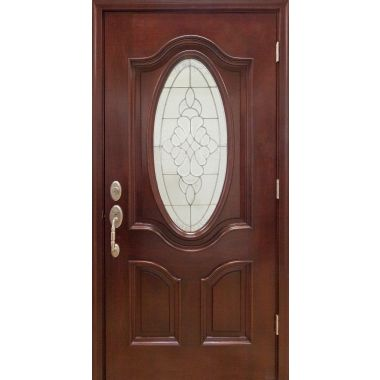 IMPACT 36x80x1-3/4 3/4 MAHOGANY WOOD DOOR W/ LITE OVAL GLASS