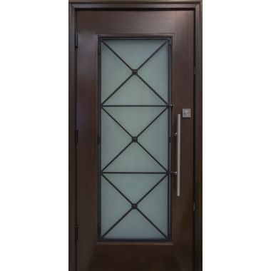IMPACT 36X80X1-3/4 FULL LITE MAHOGANY WOOD DOOR W/ WHITE LAMI GLASS & IRON